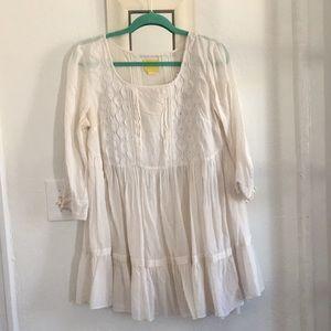 Anthropologie Ivory shift dress.Baby doll